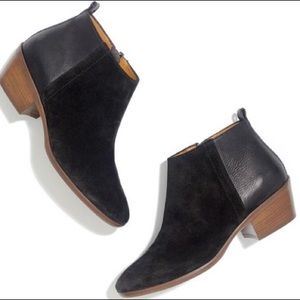 Madewell Charley Black Suede Leather Ankle Boots